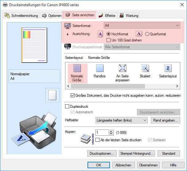 Schritt 3 Seite einrichten Canon iP 4900 4950