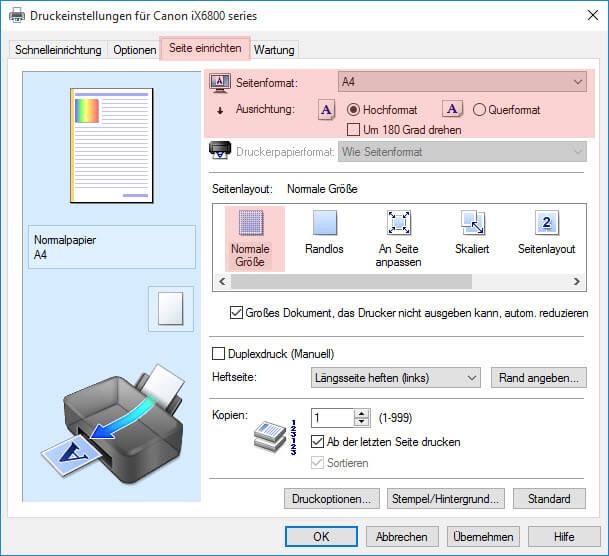 Schritt 3 Seite einrichten Canon iP 6800 6850