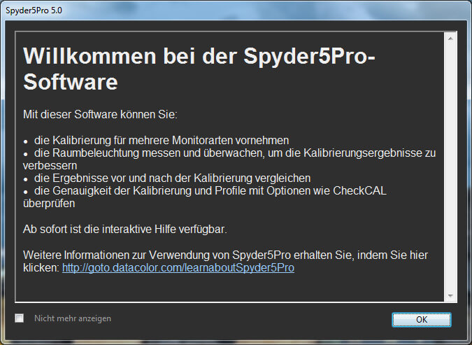 00 Willkommensfenster Spyder 5 Pro