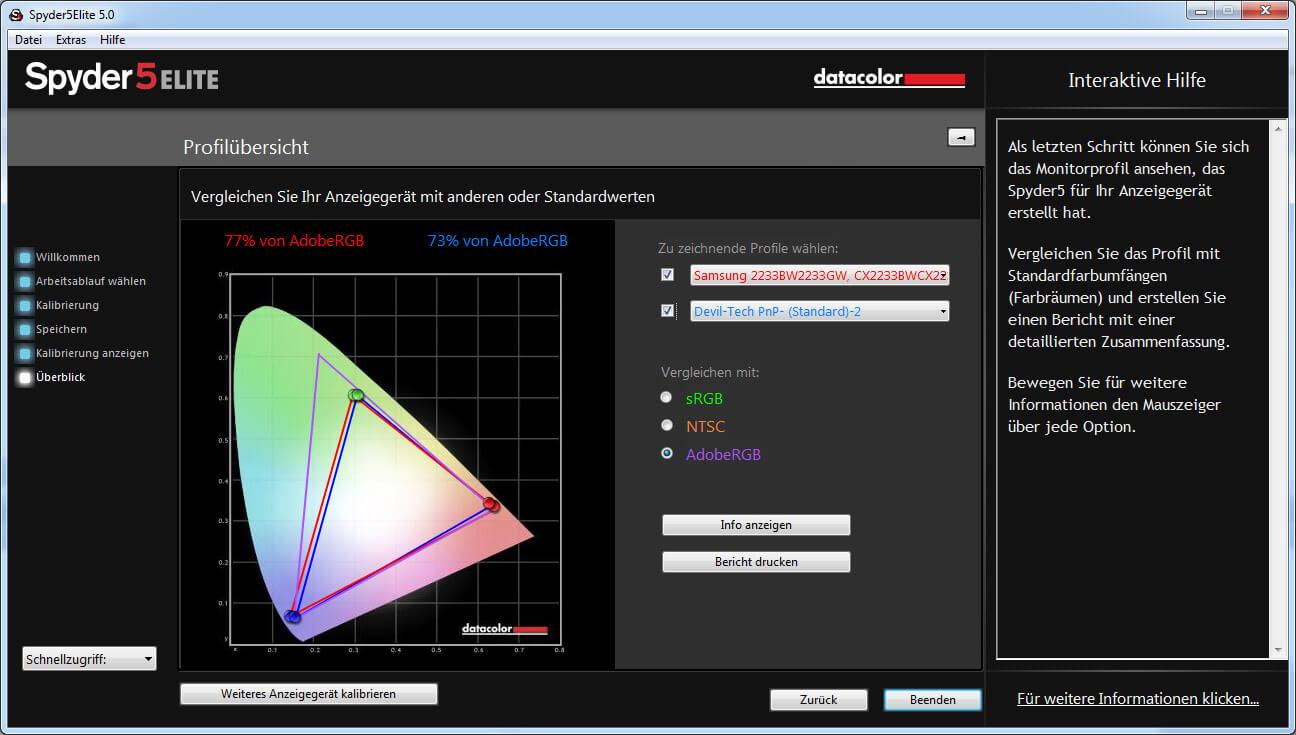 41 Farbbereich AdobeRGB Spyder 5 Elite