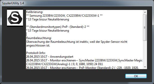41 Protokollinformationen Spyder 5 Pro
