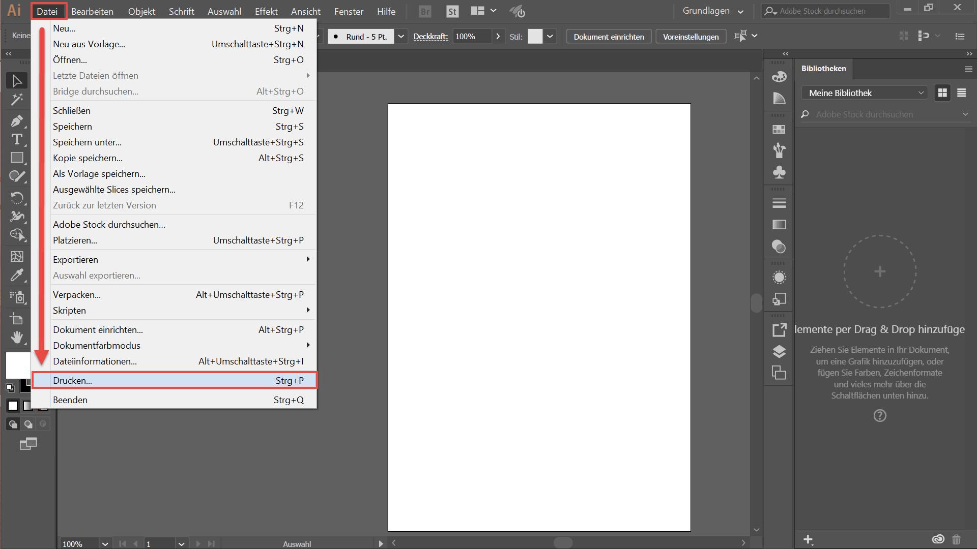 Datei öffnen in Photoshop CC
