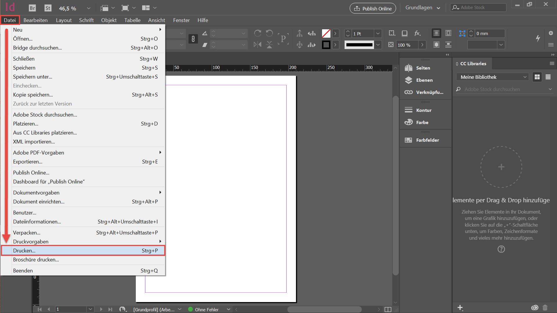 Adobe InDesign - Datei drucken