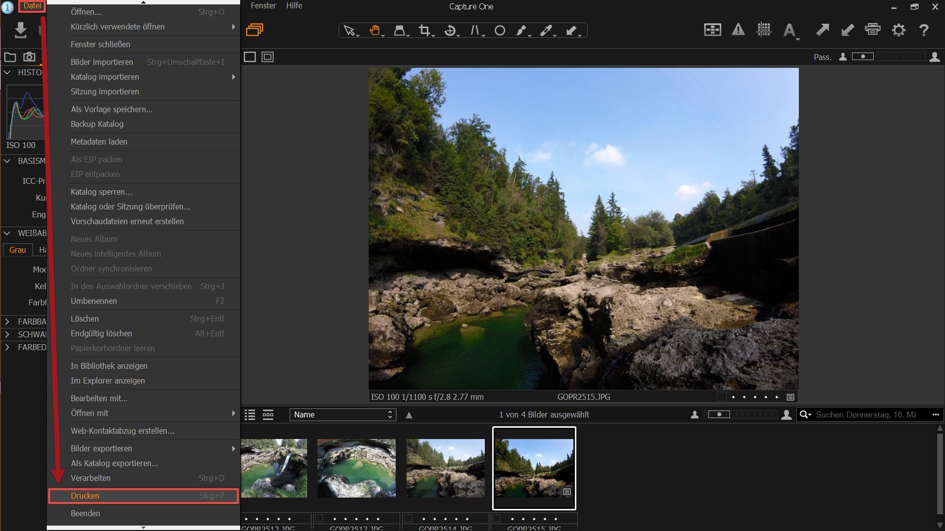 Capture One Pro - Datei/Drucken