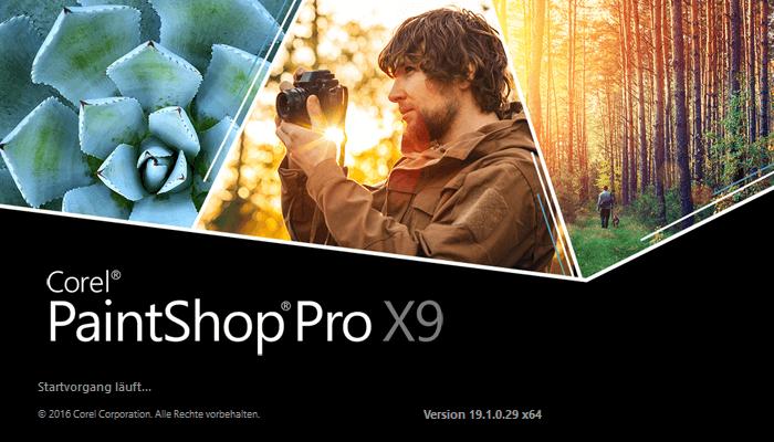 Corel PaintShop Pro X9 - Startfenster