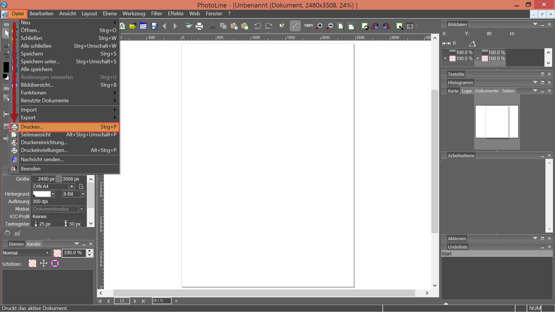 Photoline - Datei/Drucken